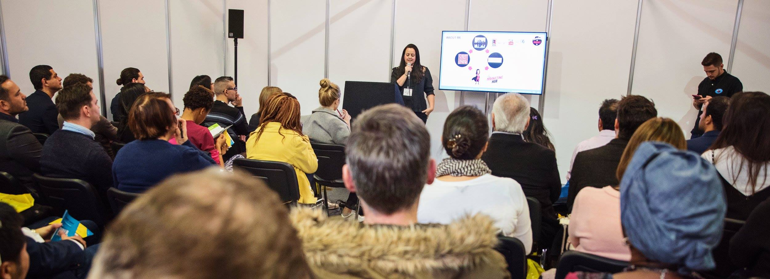 Kelly Teasdale presenting at The Business Show London